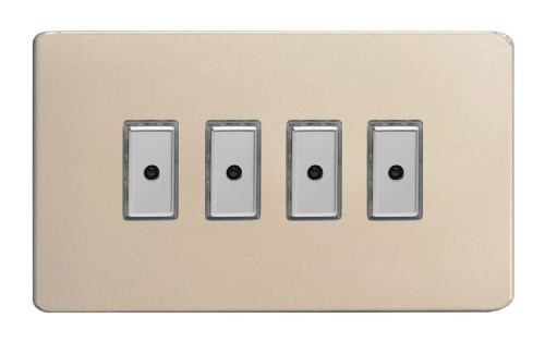Varilight JDNE104S Screwless Satin Chrome 4 Gang V-Pro Remote/Touch Master LED Dimmer 0-100W